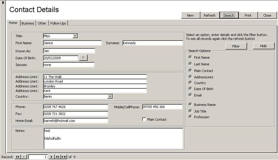 Access Database Contact Manager 1 full