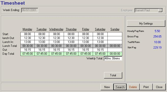 ms access timesheet